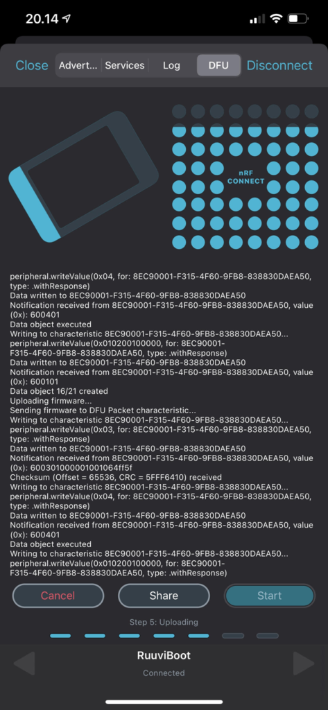 nRF Connect, RuuviTagin firmwaren päivitys
